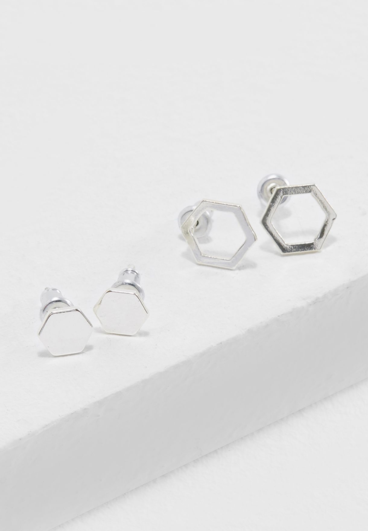 2 Pack Hexagon Stud Earrings