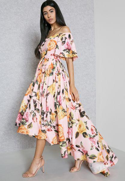 Floral Print Long Back Bardot Dress