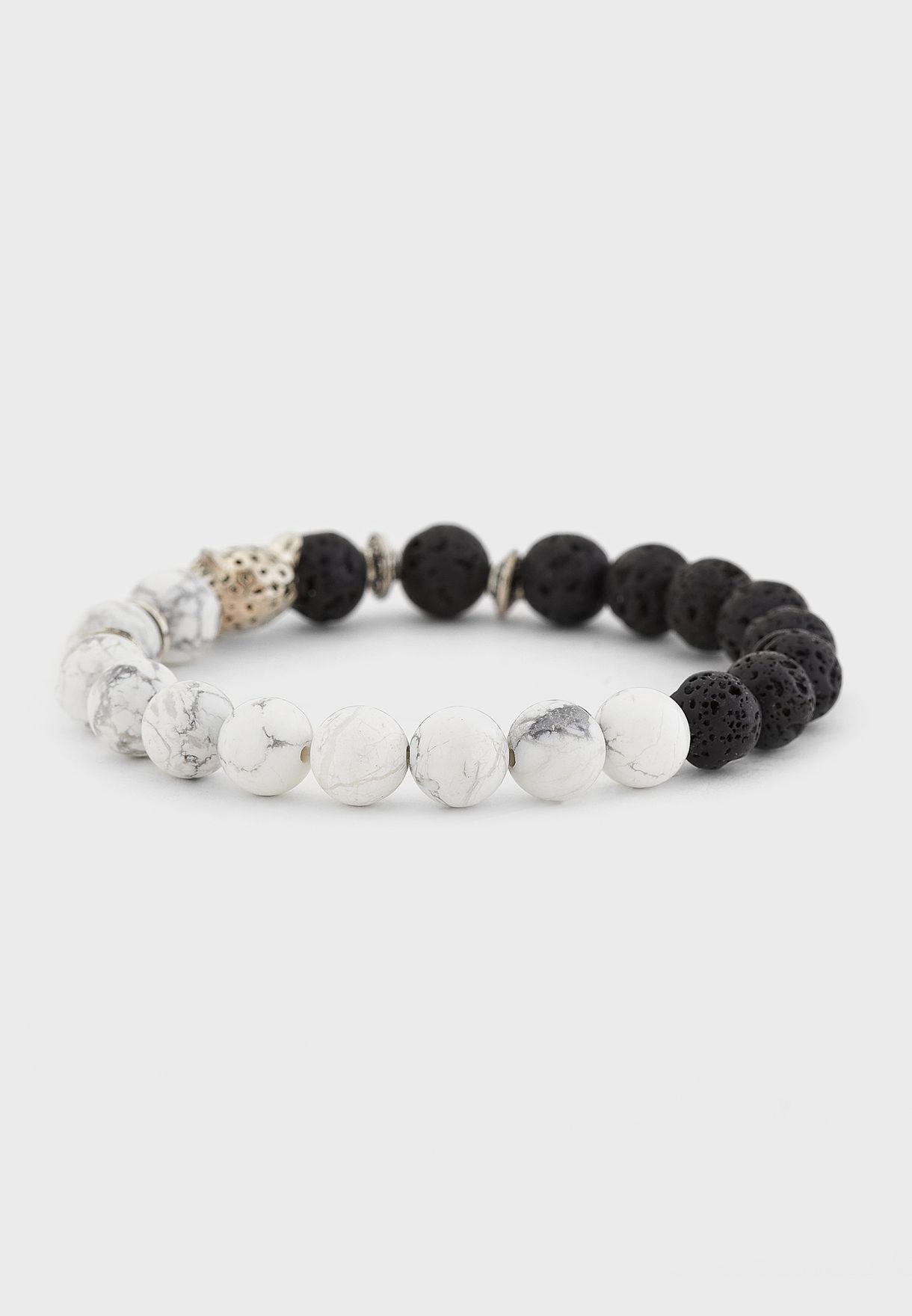 Leopard Dual Tone Beaded Bracelet