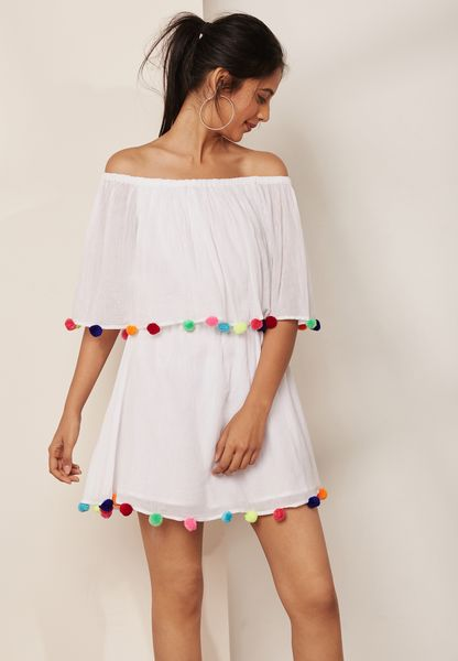 Pom Pom Bardot Dress
