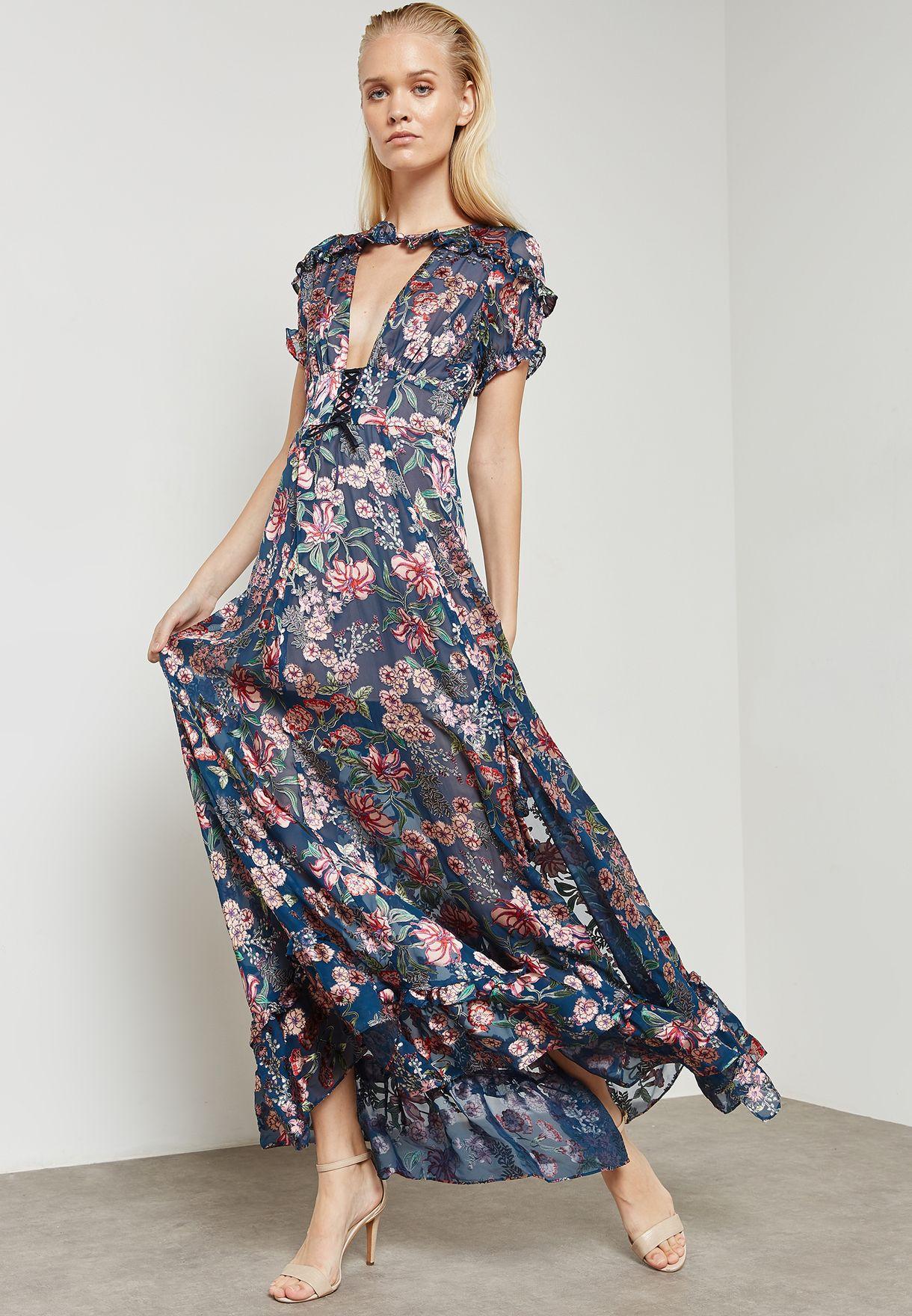 ea3dca992a Shop For Love   Lemons prints Side Split Floral Print Maxi Dress ...