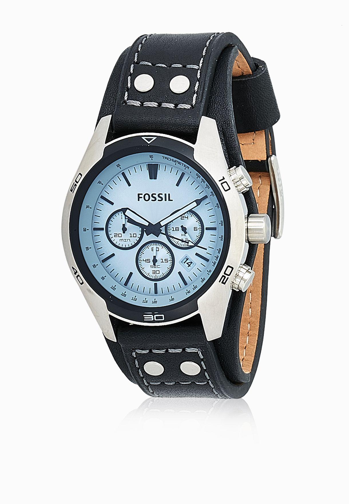 4711aa2856019 تسوق ساعة جلد اصلي ماركة فوسيل لون أسود CH2564 في الامارات ...