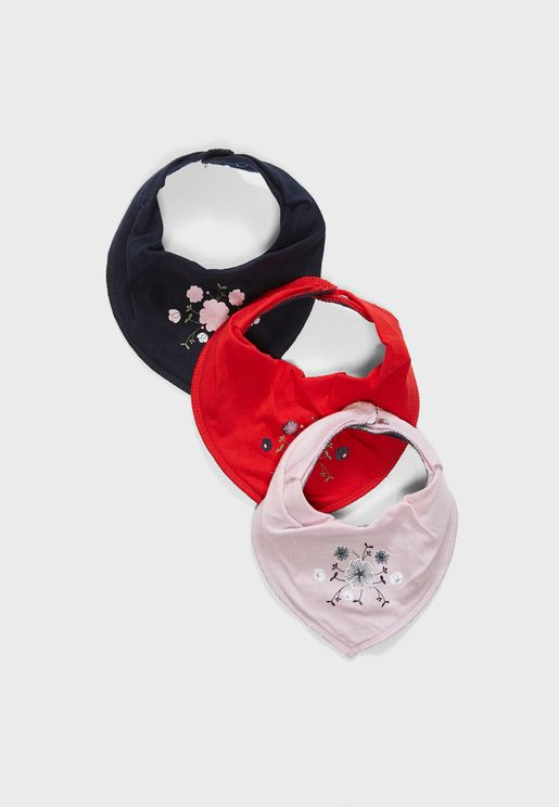 Infant 3 Pack Scarf Bibs