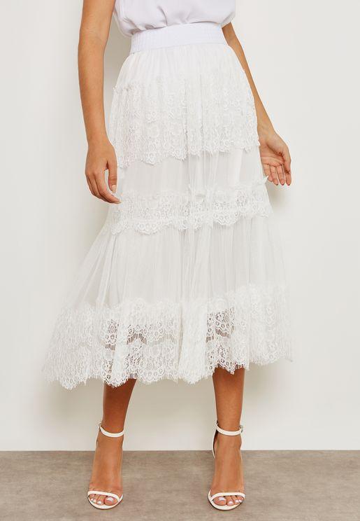 Lace Mesh Overlay Skirt