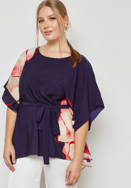 Floral Print Self Tie Kimono Top