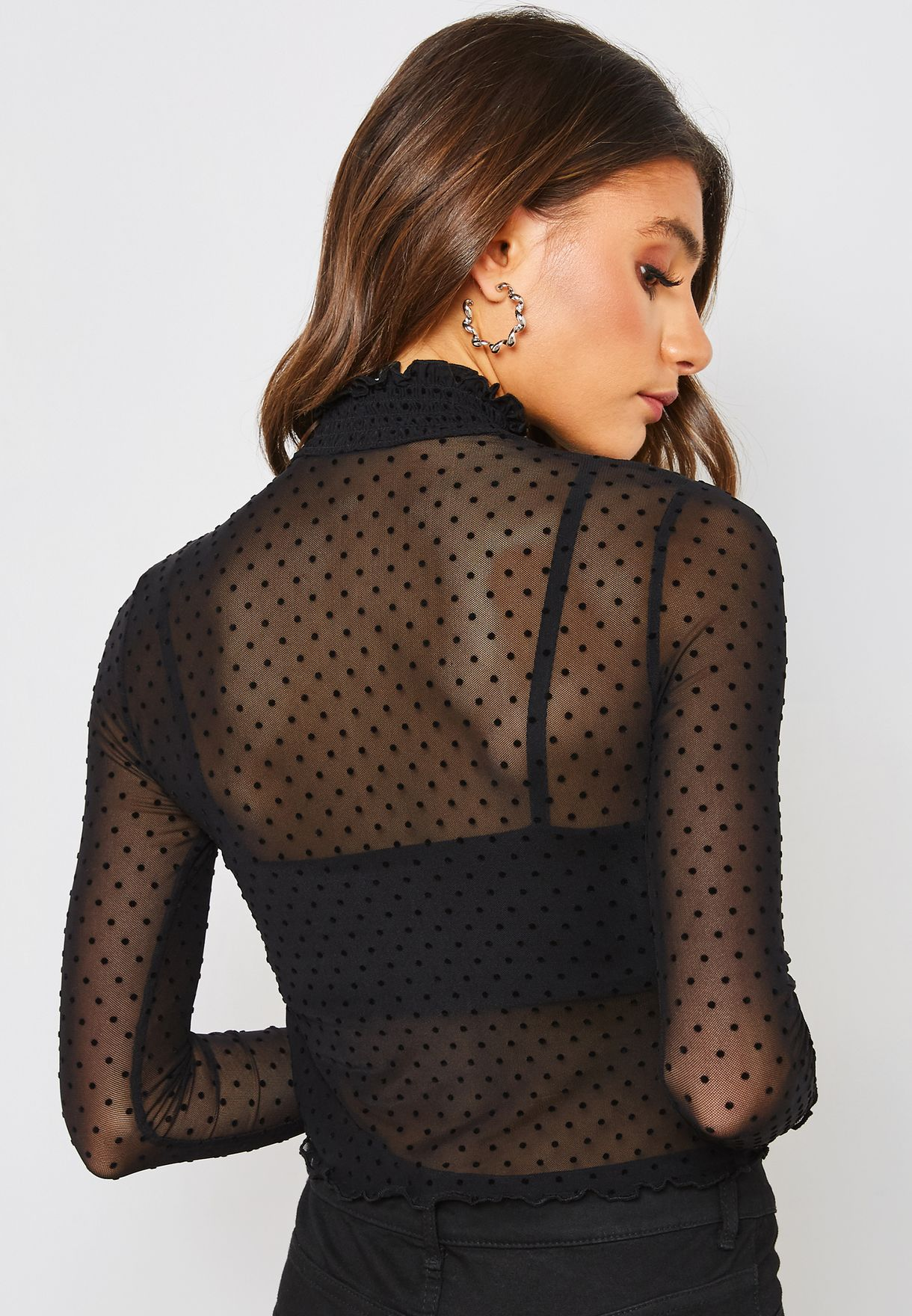 d9e455b71b9c81 Shop Forever 21 black High Neck Dot Mesh Top 217042 for Women in UAE ...