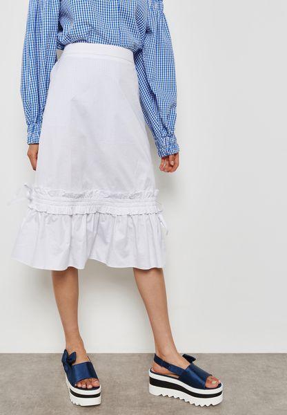 Drawcord Midi Skirt
