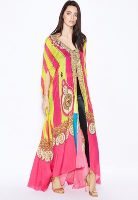 Aanchal Chanda Digital Print Embellished Cape Kaftan