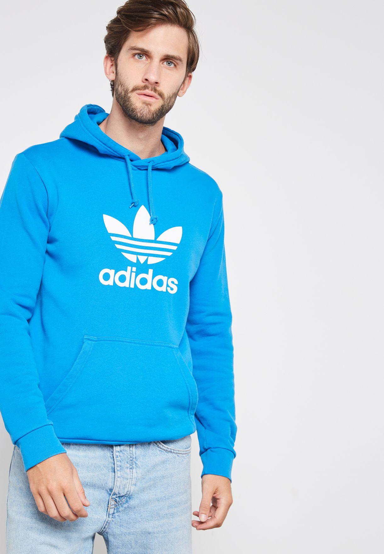 a3b25778a1b8 Shop adidas Originals blue Trefoil Hoodie DT7965 for Men in UAE ...