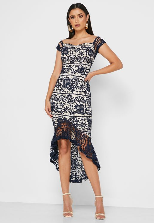 Bardot Lace Fishtail Midi Dress