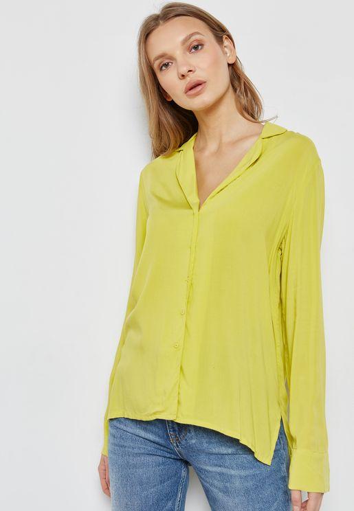 Cuffed Sleeve Flowy Shirt