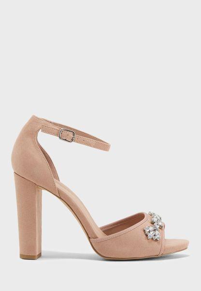Tiamond Embellished Ankle Strap Sandal