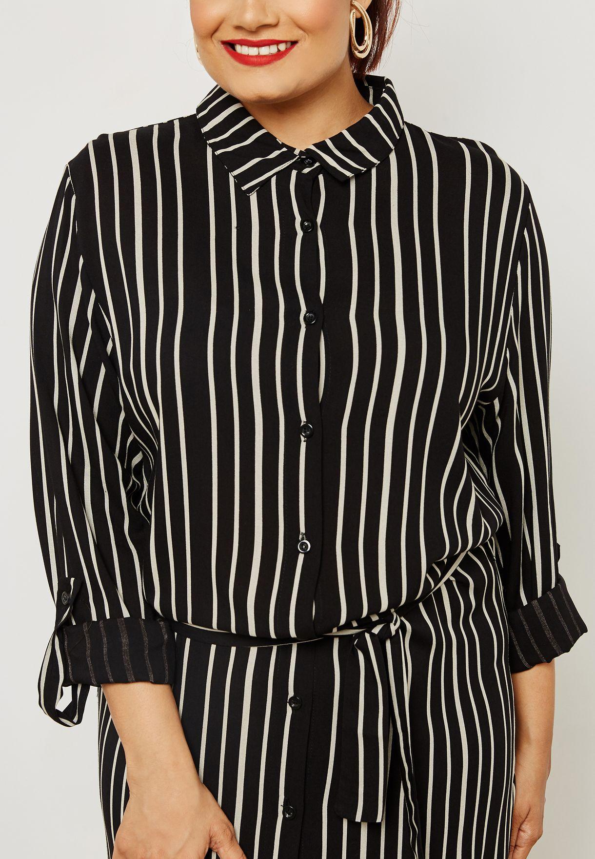 فستان بنمط قميص باربطة وخطوط