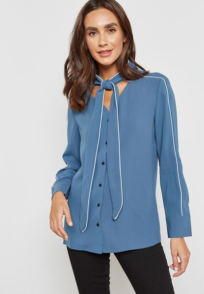 Contrast Piping Tie Neck Shirt