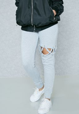 Tie Waist Lace Up Joggers