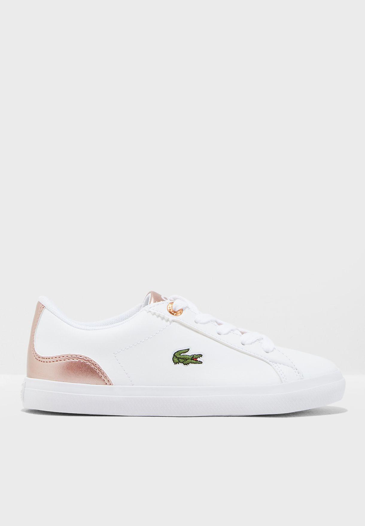 6a5b6b54c7f1 Shop Lacoste white Kids Lerond 318 3 Sneaker 36CAC0014-B53 for Kids ...