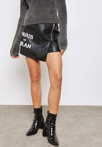 PU Slogan Skirt