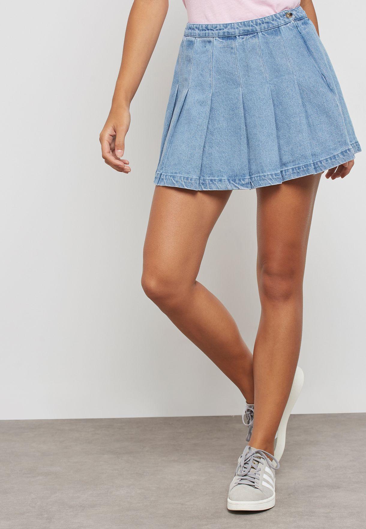 354c591a43 Shop Forever 21 blue Pleated Denim Skirt 253105 for Women in Qatar ...