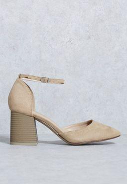Suede Ankle Strap Pumps