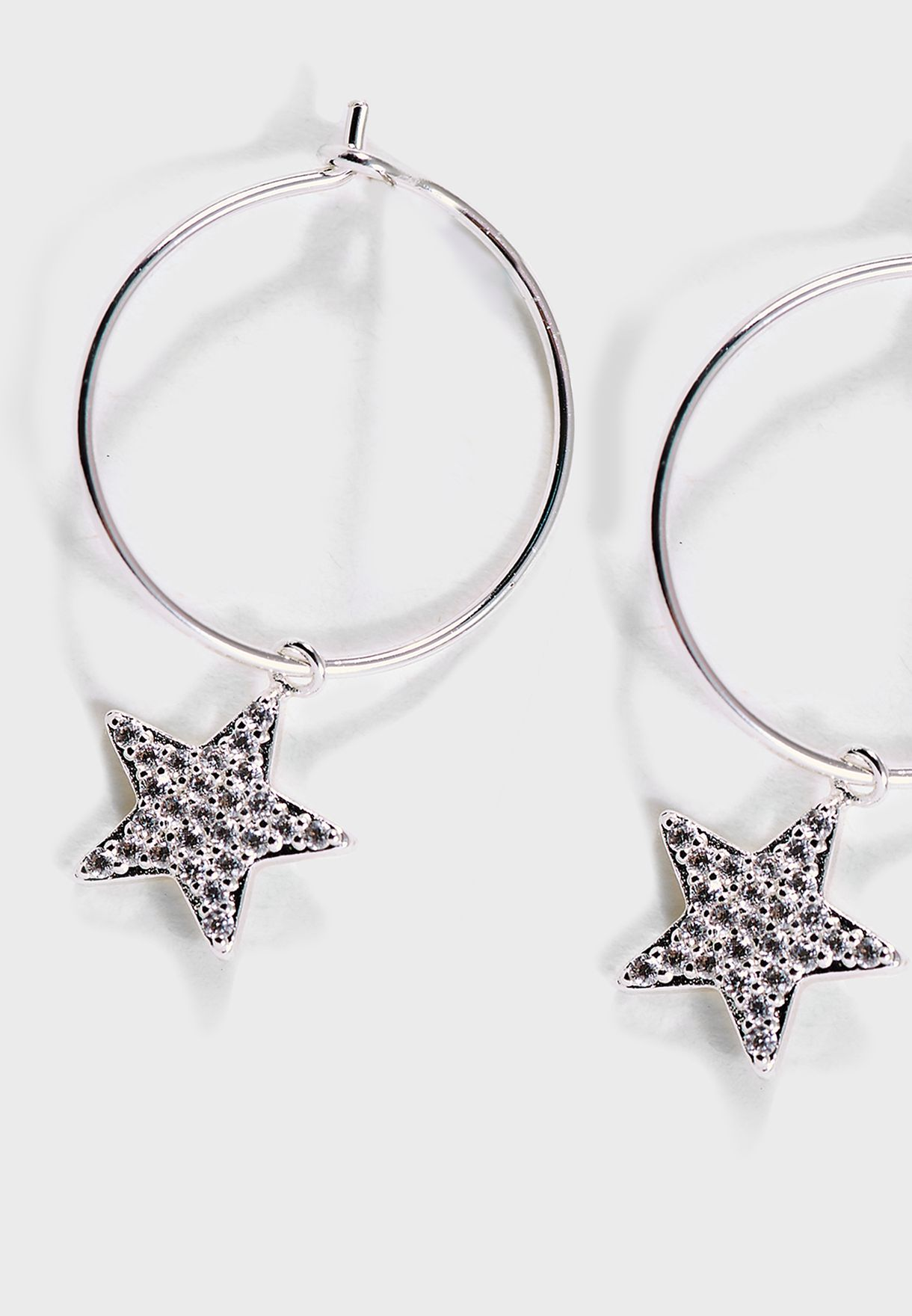 Pave Star Drop Hoops