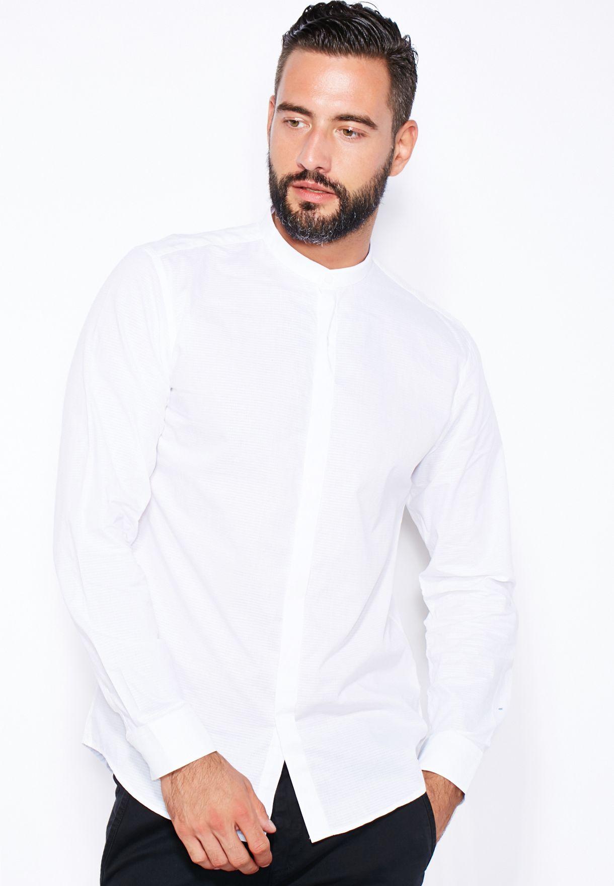 7b6aa260391f2 تسوق قميص بياقة صينية ماركة سيليكتد هومي لون أبيض في جميع الدول ...