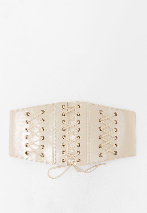 Faux Leather Lace Belt