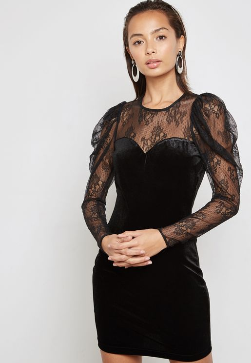 Lace Velvet Dress