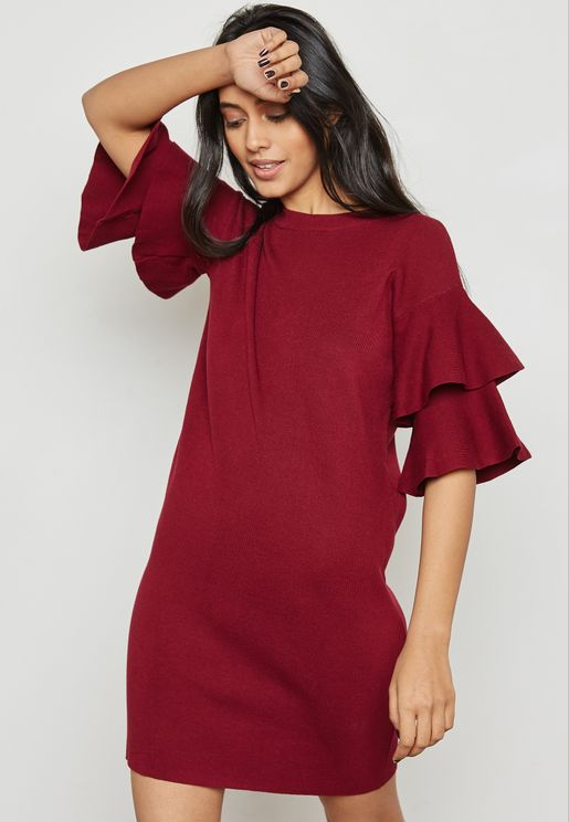 FRILL SLEEVE KNIT DRESS