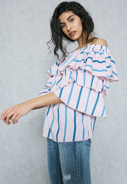 Striped Tiered Ruffle Sleeve Top