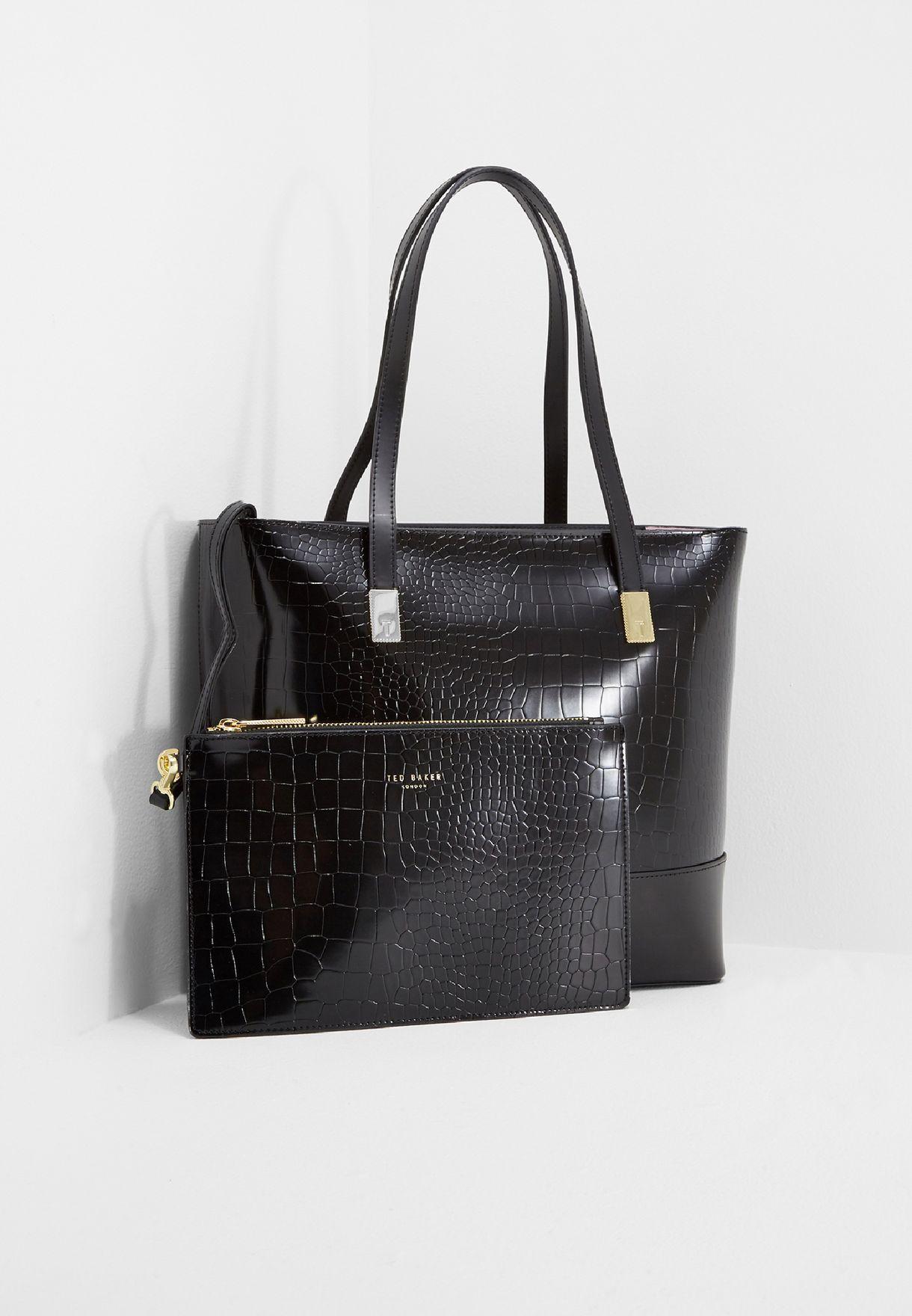 17a52f808c Shop Ted baker black Large Exotic Detail Shopper XBQ3/CARREN for ...