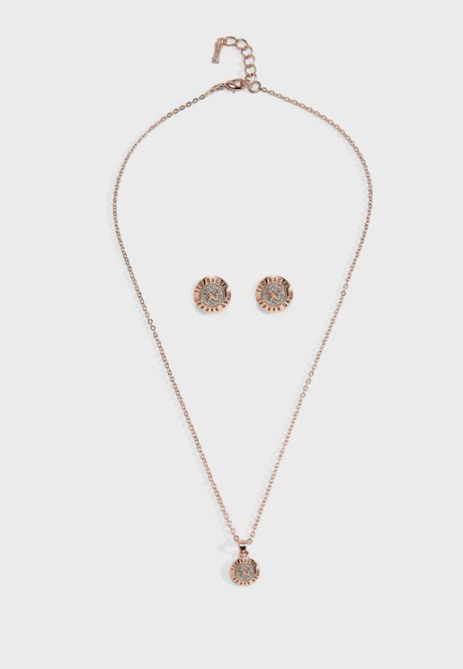 Emillia Mini Button Necklace + Earrings Set