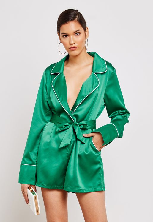 Pyjama Wrap Front Satin Playsuit