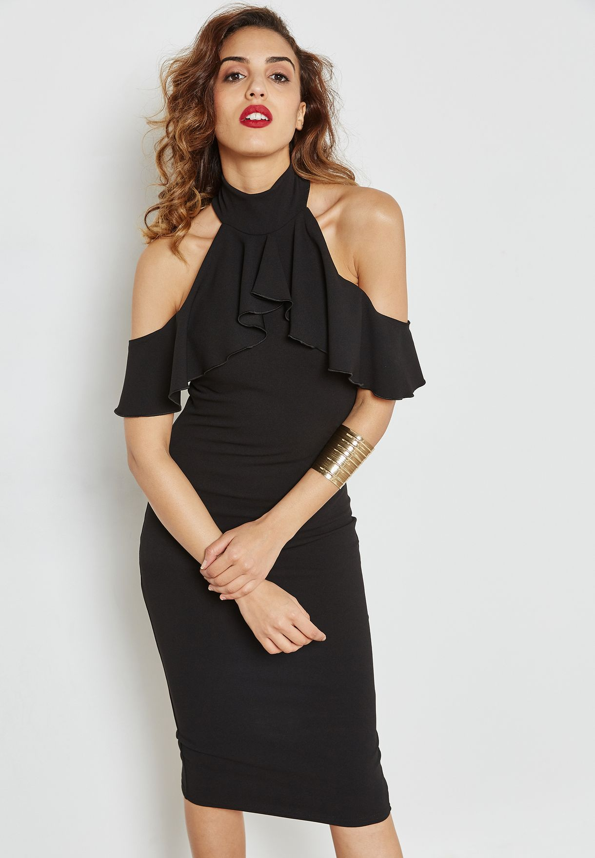 c93b394e61 Shop Missguided black Cold Shoulder Dress WXDE919940 for Women in ...