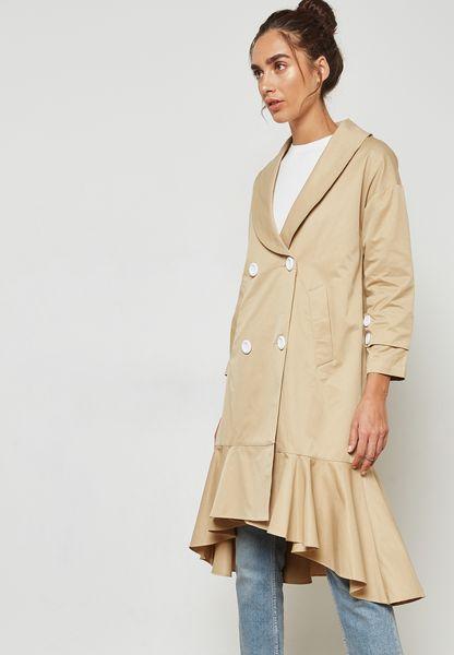 Ruffle Hem Trench Coat