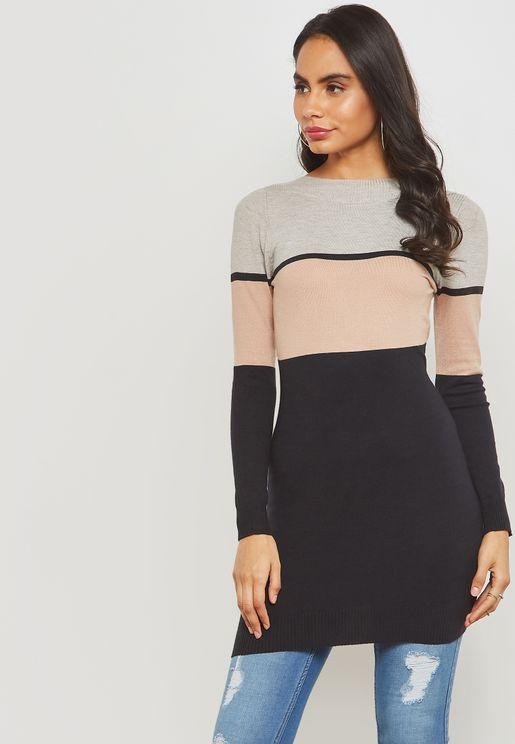 Colourblock Knitted Mini Dress