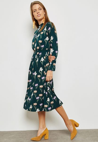 Floral Print Belted Shirt Midaxi Dress