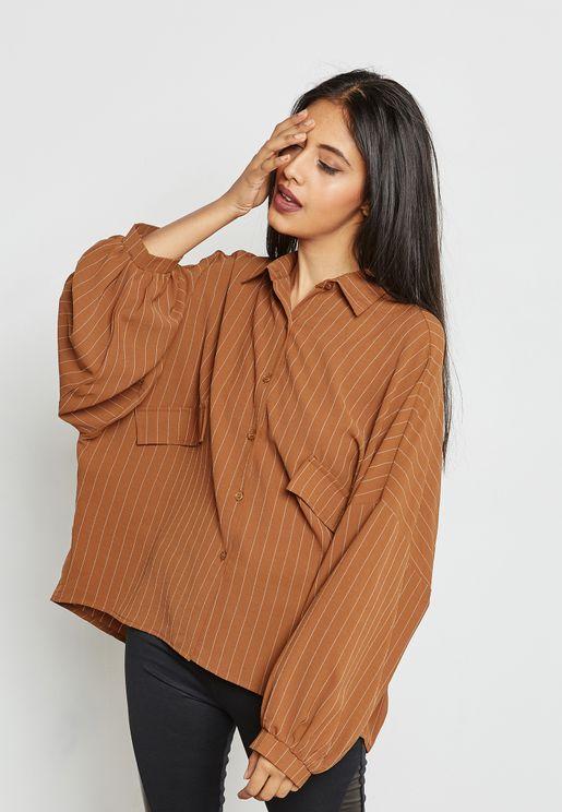 Striped Detail Oversized Shirt