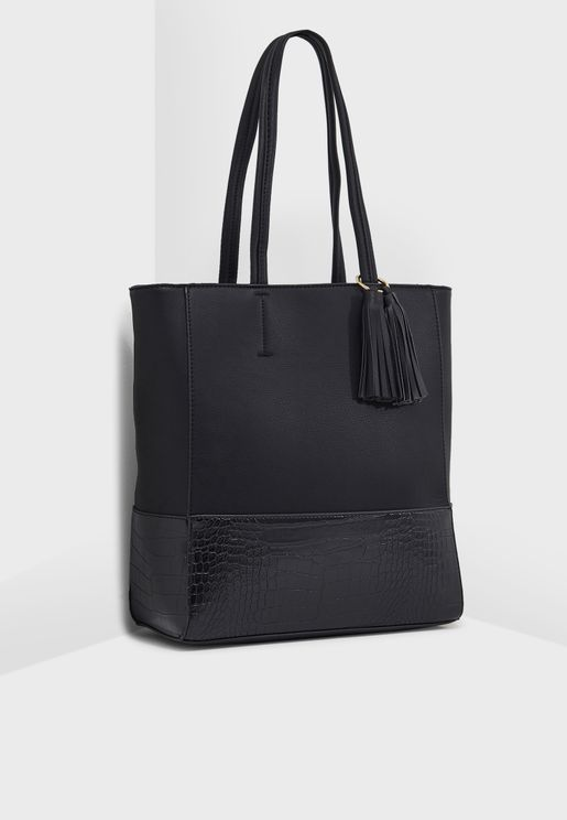Crocodile Panel Tassel Tote Bag