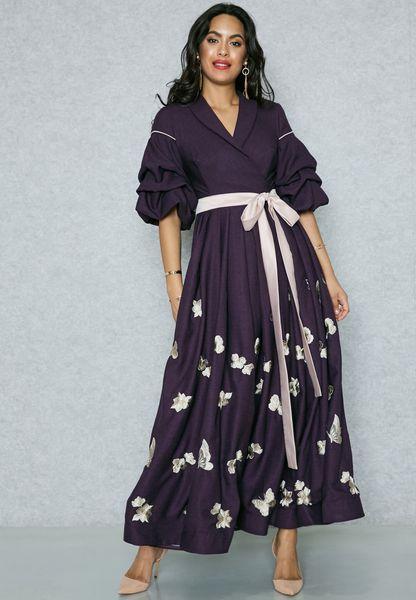 Embroidered Hem Tiered Sleeve Dress