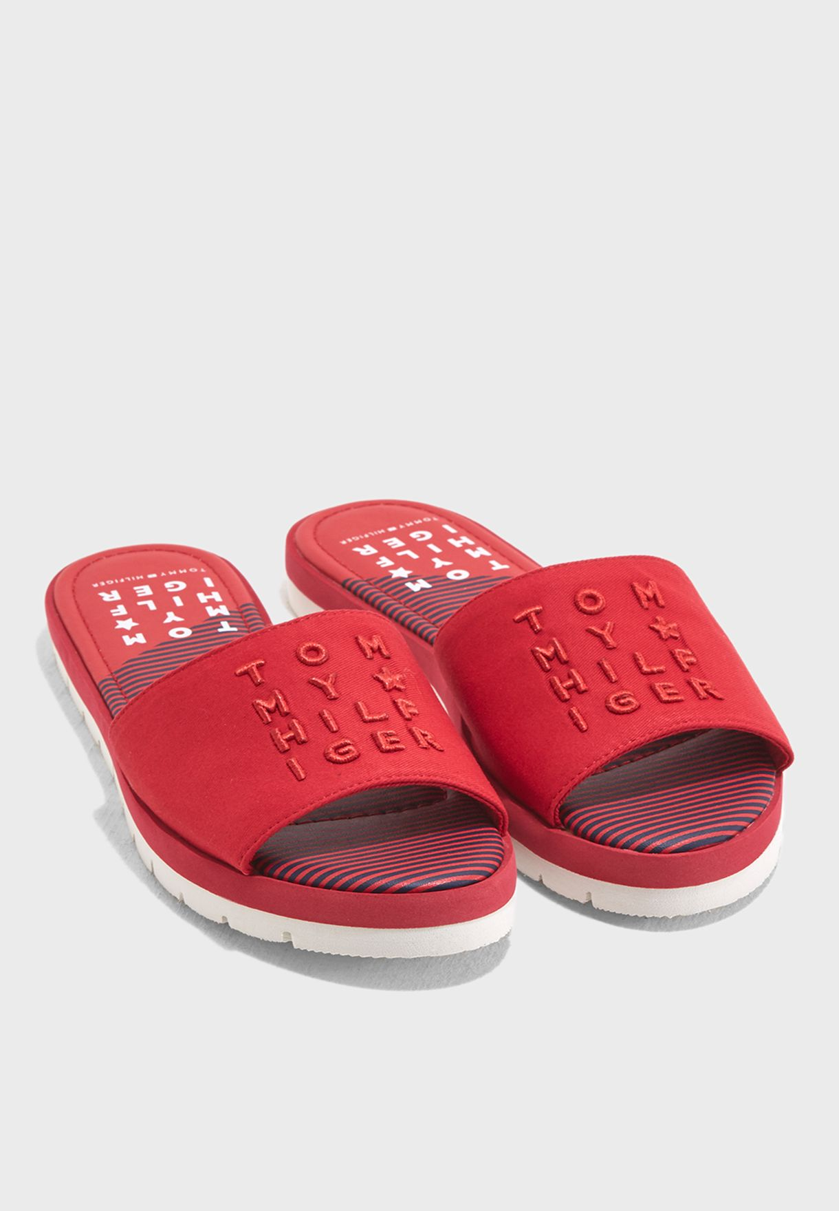10acdc3772772 Shop Tommy Hilfiger red Corporate Beach Slide FW0FW02771611 for Women in  Bahrain - TO279SH77GHM