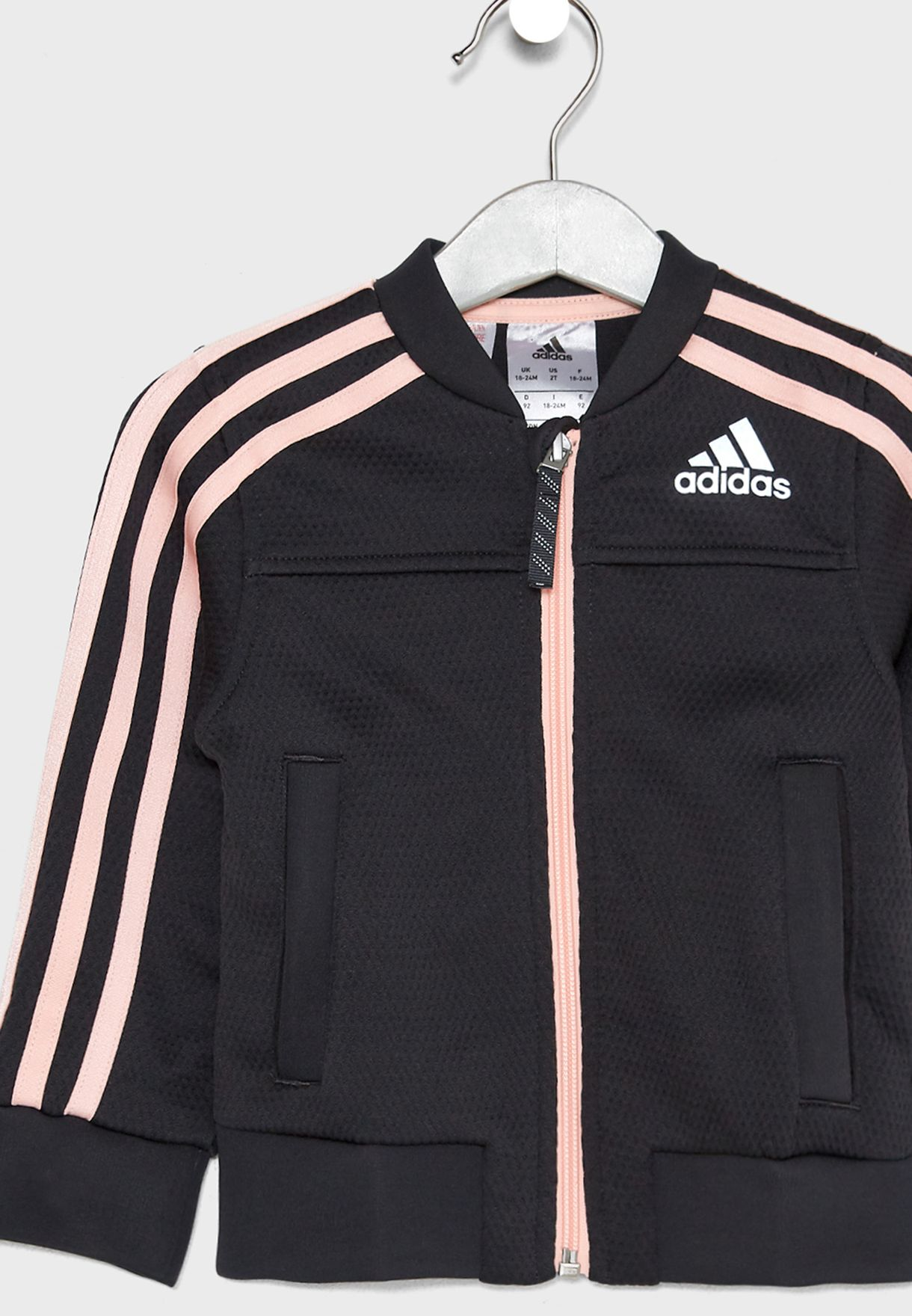 adidas PES Cover Up Jacket Childrens Girls Tracksuit Top Coat Full Length Sleeve