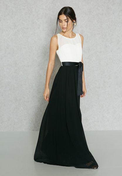 Sheer Top Pleated Skirt Dress