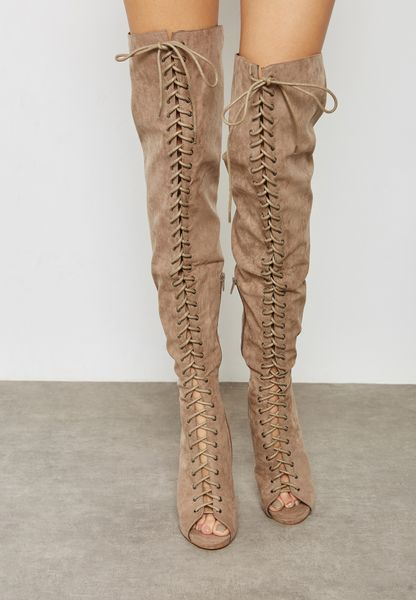 Peep Toe Lace Up Knee Boots