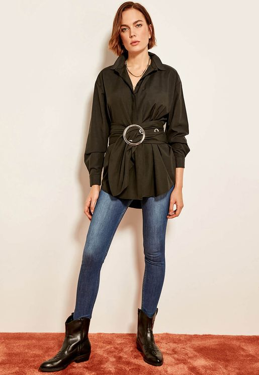 Belted Long Sleeve Shirt