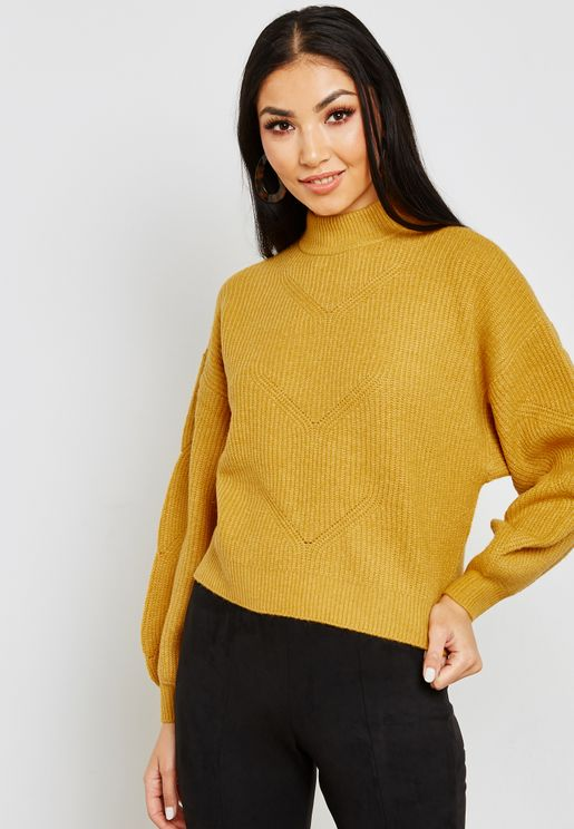 Balloon Sleeve Rib Sweater