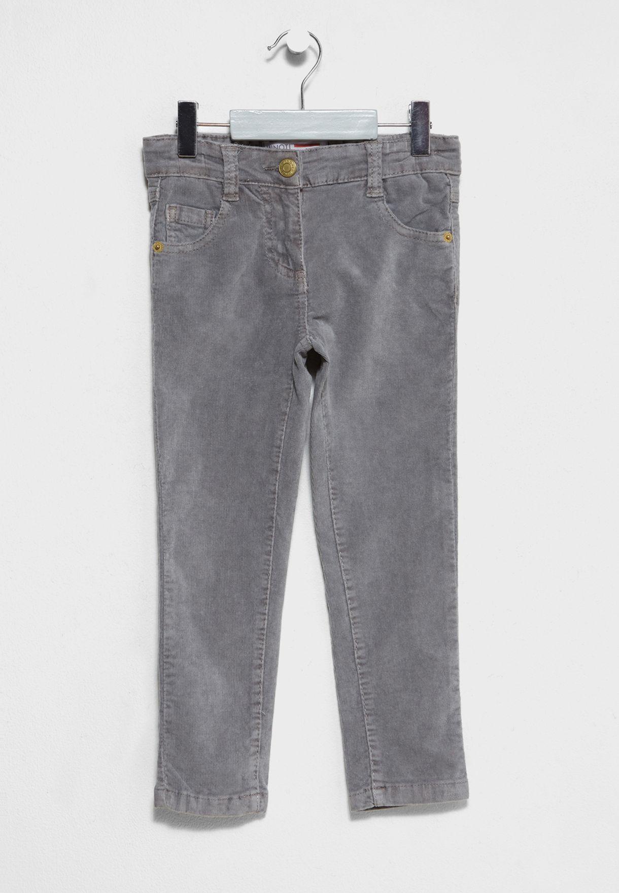 Minoti Girls Skinny Cord Grey Trousers