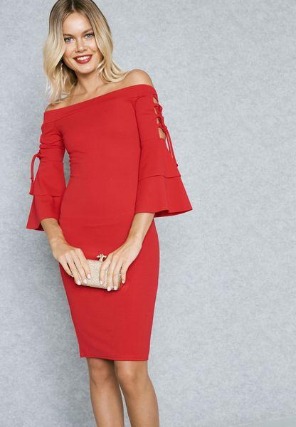 Lace Up Ruffled Sleeve Bodycon Dress
