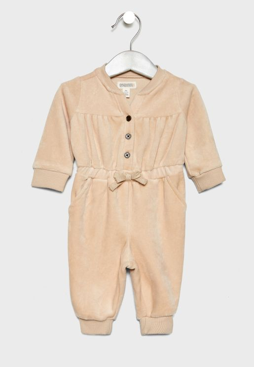 Infant Tie Waist Velour Romper