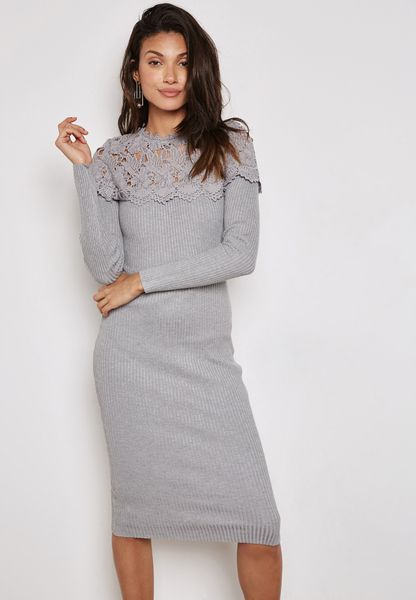 Ribbed Lace Yoke Dress
