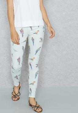 Bird Print Skinny Jeans